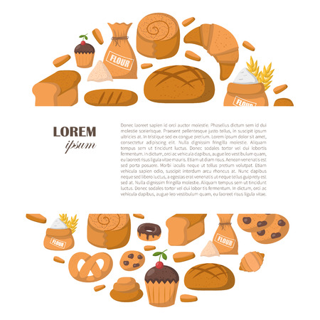 Vector illustration with cartoon bakery shop background. Pastry vector objects. Sweet bun, croissant, flour, cake, donut products. Vector bakery food. Pastry breakfast cartoon sweet food