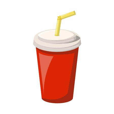 Vector cartoon illustration with isolated red soda cup with straw and cap. Plastic or paper container for take away drink - coffee, soda, tea. Cafe food menu design. Vector beverage icon