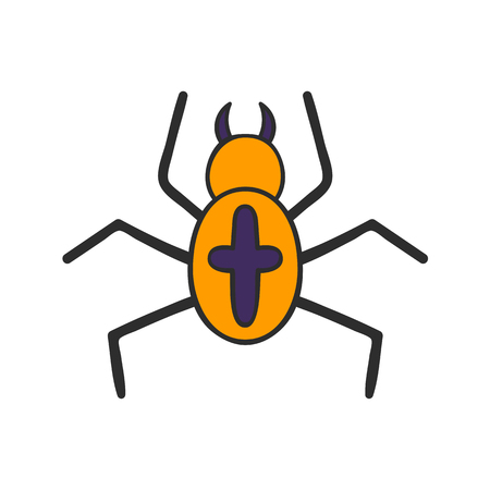 Vector cartoon illustration with hand drawn orange spider with black cross on back. Vector insect icon isolated on white background. Halloween animal. Cartoon object