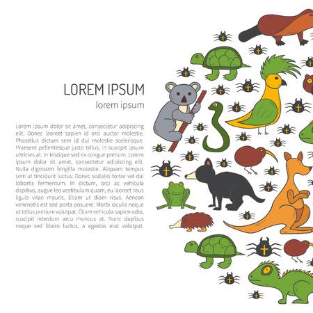 hand drawn Australia animals background. Australian kangaroo, koala, emu, wombat. Cartoon vector zoo characters. Australia tourism concept. Nature wildlife background Illustration