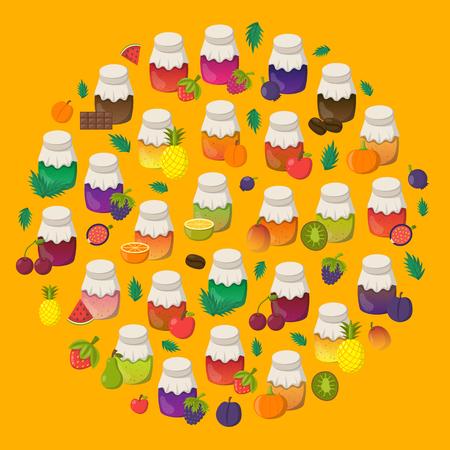 Vector cartoon illustration with collection of jam jars: strawberry, cherry, apple, berries, mango, lemon, orange. Set of sweet jelly marmalade glass bottles. Homemade sugar preserves background Çizim