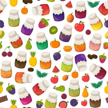 Illustration de dessin animé de vecteur avec collection de pots de confiture: fraise, cerise, pomme, baies, mangue, citron, orange. Ensemble de bouteilles en verre de marmelade de gelée sucrée. Le sucre fait maison préserve le fond