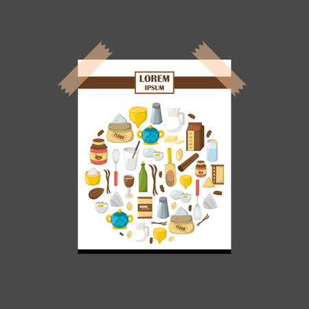 Vector cartoon illustration with baking ingredients. Cooking ingredients background. Vector cartoon kitchen culinary food elements for cooking. Cartoon pasrty preparation vector ingredients