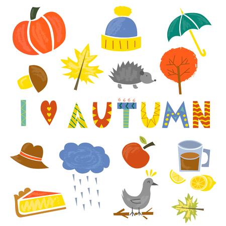 Vector illustration with cartoon isolated autumn icons. Pumpkin, leaves, rain, umbrella, pumpkin pie, tree, lemon tea. Fall season autumn objects. Cartoon icons on white background
