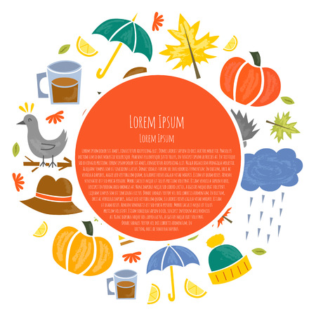 Vector illustration with cartoon isolated autumn icons. Pumpkin, leaves, rain, umbrella, pumpkin pie, tree, lemon tea. Fall season autumn objects. Cartoon background