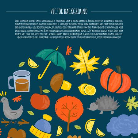Vector illustration with cartoon isolated autumn icons. Pumpkin, leaves, rain, umbrella, pumpkin pie, tree, lemon tea. Fall season autumn objects. Cartoon background