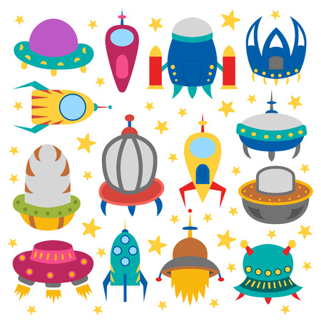 Vector cartoon illustration with collection of different colorful alien spaceships. Vector UFO icon. Cute spacecraft, galaxy objects for children book or cover illustration. Cartoon rocket icon Illusztráció