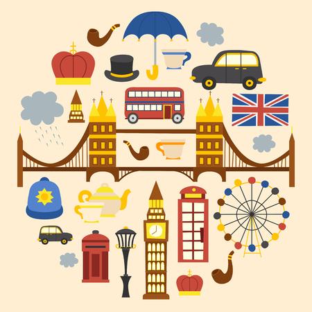 Vector cartoon illustration with London background. Travel to United Kingdom concept. Cartoon english objects: telephone box, uk flag, big ben, traditional tea, London eye, bridge. London tourism