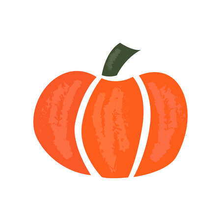 Vector cartoon illustration with orange pumpkin. Fresh vegetable food icon. Autumn or Halloween object isolated on white background. Orange cartoon pumpkin 矢量图像