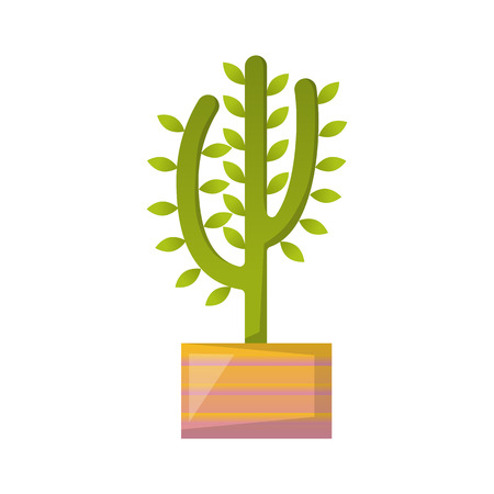 Vector illustration with cartoon isolated cactus icon. Vector house plant in flowerpot, home interior background. Desert mexican succulent. Home flowers cartoon indoor object on white background Illustration