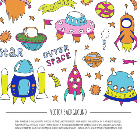 Vector cartoon illustration with collection of different colorful alien spaceships. Vector UFO icon. Cute spacecraft, galaxy objects. Children book or cover illustration. Hand drawn rocket background  イラスト・ベクター素材