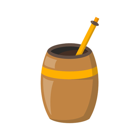 Vector illustration with cartoon isolated tea mate on white background. Green tea traditional beverage from Argentina and South America. Calabash and bombilla. Vector tea time icon