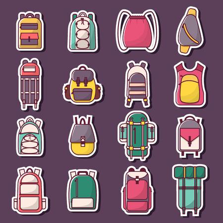 Illustration vectorielle avec sac à dos plat de dessin animé et valise de sport. Sac à dos d'école plat. Equipement touristique de montagne. Randonnée, camping, escalade, sac à dos de sport de plein air. fond plat de dessin animé. Vecteurs