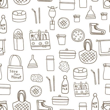 Illustration vectorielle avec fond de vie zéro déchet dessiné à la main. Style éco. Pas de plastique. Mettre au vert. Éléments recyclés biologiques : sac de rangement en filet de coton, bouteille en verre, coupe menstruelle, objets réutilisables