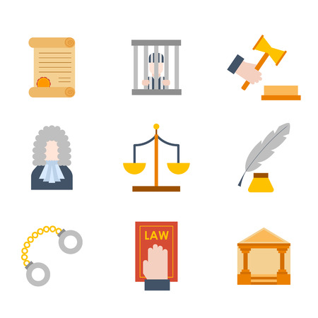 Vector illustration with cartoon flat law justice icons set. Judge court design. Trial lawyer, crime vector background
