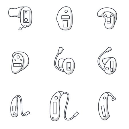 Vector illustration with flat oultine hearing aids icons. Background for hearing aid center, medical clinic for deaf people with hearing loss. Vector set in line style. Ears health. Audiology device
