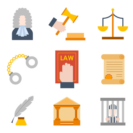 Vector illustration with cartoon flat law justice icons set. Judge court design. Trial lawyer, crime vector background 版權商用圖片 - 112038086