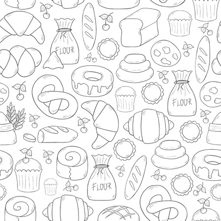 Vector illustration with cartoon bakery shop background. Pasrty vector objects. Sweet bun, croissant, flour, cake, donut products. Vector bakery food. Pastry breakfast cartoon sweet food