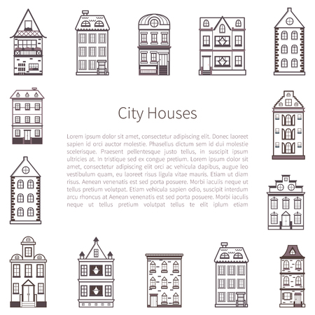 Vector illustration with background of flat cartoon line houses. City, town design. Urban landscape background. Set of exterior facade buildings. old, retro and modern front view houses icon Illusztráció