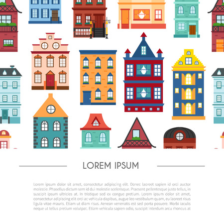 Vector illustration with background of flat cartoon houses. City, town design. Urban landscape background. Set of exterior facade buildings. Colorful old, retro and modern front view houses icon Illusztráció