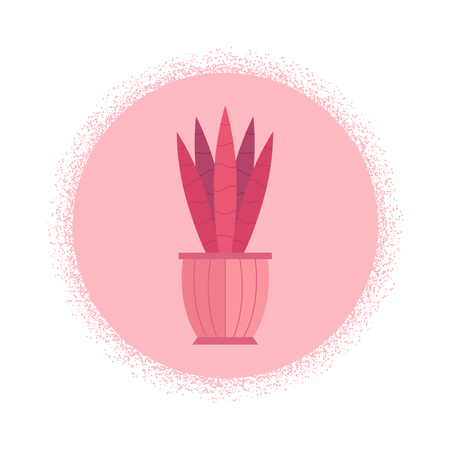 Vector illustration with cartoon isolated cactus icon. house plant in flowerpot, home interior background. Desert mexican succulent. Home flowers cartoon indoor object on white background