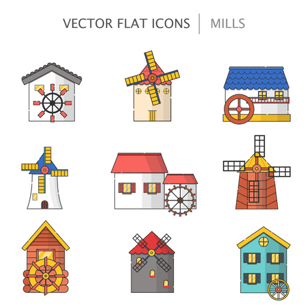 Vector illustration with set of cartoon flat windmills and watermills of different types isolated on white background. Agricultural buildings with rotating sails Illustration