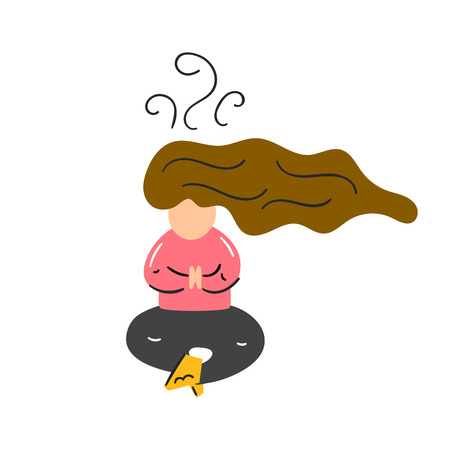 vector illustration with young woman meditating with crossed legs. Relaxation concept. T-shirt, cup, card, booklet for yoga studio print desugn. Meditation for woman, housewifes, businesswoman Illusztráció