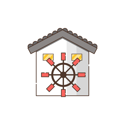 Vector illustration with cartoon flat watermill isolated on white background. Agricultural building with rotating sails Illusztráció