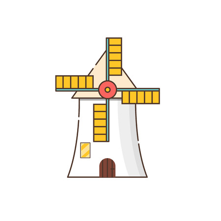 Vector illustration with cartoon flat windmill isolated on white background. Agricultural building with rotating sails