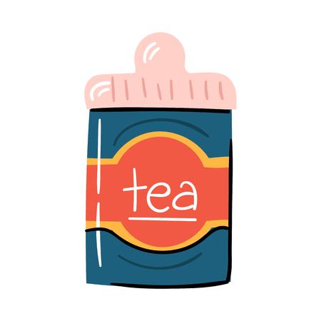 Vector illustration with trendy cartoon isolated tea metal tea box. Drink or teatime icon. Packaging background. Cartoon tea illustration Illusztráció