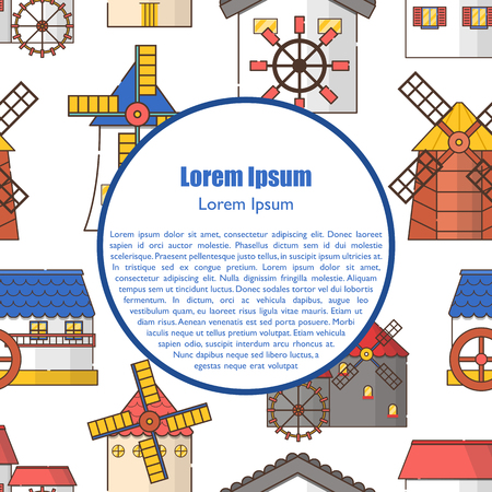 Vector illustration with set of cartoon flat windmills and watermills of different types isolated on white background. Agricultural buildings with rotating sails Illusztráció