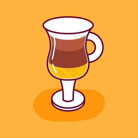 Vector illustration with cartoon isolated layered hot coffee in glass. Sweet beverage on white background. Coffee icon for cartoon food design Illusztráció