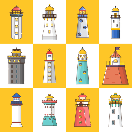 Vector illustration with cartoon flat outline set of buildings lighthouses. Sea travel elements. Marine object. Large lighthouse, sea beach icon. Architecture object, exploring surrounding area coast Illusztráció