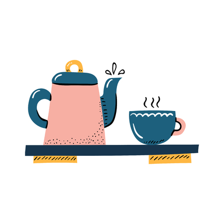 Vector cartoon illustration with porcelain teapot and cup. Tea ceremony objects. Vector japanese teatime icon isolated on white background Illustration