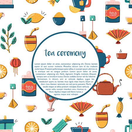 Vector cartoon illustration with tea ceremony set: cup, teapot, lemon, tea bags, herbs, sweets, mate. Traditional english tea time icon. Hot chinese beverage. Breakfast backgrounddesign
