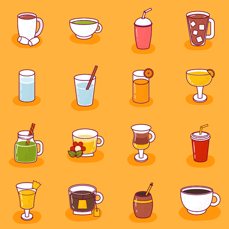 Vector illustration with cartoon non-alcoholic beverages icon. Glasses with cartoon drinks: water, tea, soda, juice, lemonade, coffee, milk cocktail. Non alcoholic drinks background Illustration