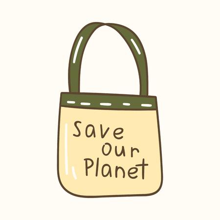 Vector illustration with cartoon cotton bag icon. Textile store shopping bag. Zero waste concept. Reusable fabric for bread, fruits Illustration