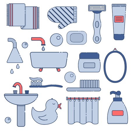 Vector illustration with flat line cartoon bathroom background. Circle background with bathroom soap, bathroom cosmetics, bathroom duck, bathroom towel, mirror, brush. Cartoon cute bathroom concept Illustration