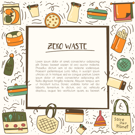 Vector illustration with cartoon hand drawn zero waste life background. Eco style. No plastic. Go green. Organic recycled elements: cotton mesh store bag, glass bottle, menstrual cup, reusable things Illustration