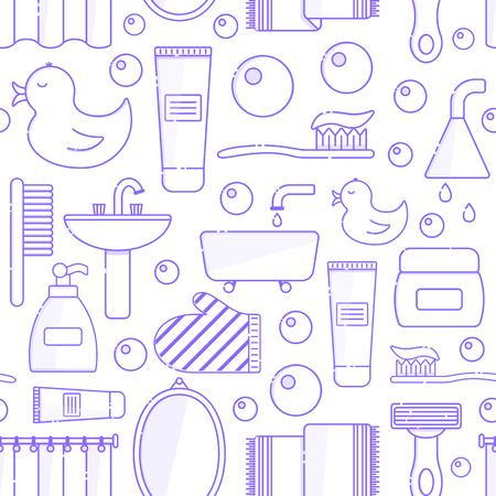 Vector illustration with flat line cartoon bathroom background. Circle background with bathroom soap, bathroom cosmetics, bathroom duck, bathroom towel, mirror, brush. Cartoon cute bathroom concept Illustration
