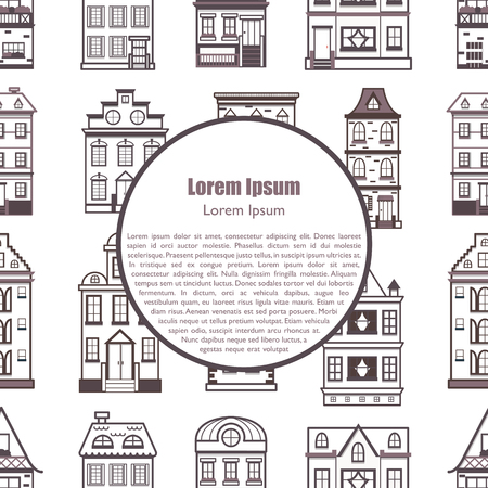 Vector illustration with background of flat cartoon line houses. City, town design. Urban landscape seamless background. Set of exterior facade buildings. Old, retro and modern front view houses icon Illusztráció