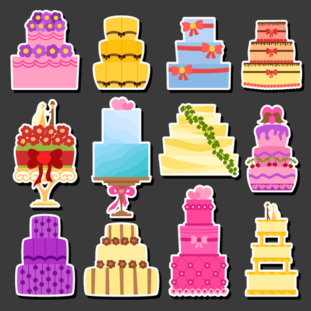 Vector cartoon illustration with flat wedding cakes set. Sweet bakery food, dessert icon for celebration. Happy anniversary party or wedding object. Cute cakes with flowers, ribbons, cream, chocolate