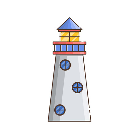 Vector illustration with cartoon flat outline of building lighthouse. Sea travel elements. Marine object. Large lighthouse, sea beach icon. Architecture object, exploring surrounding area coast