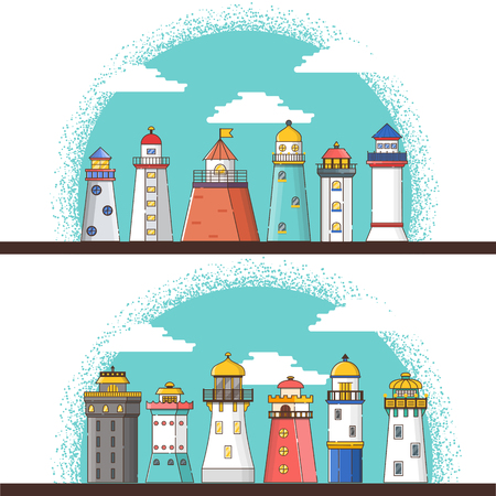 Vector illustration with cartoon flat outline background of lighthouses. Sea travel elements. Marine object. Large lighthouse, sea beach icon. Architecture object, exploring surrounding area coast