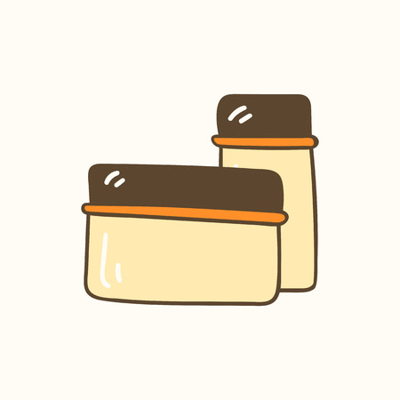 Vector illustration with cartoon hand drawn glass kitchen container. Zero waste concept Illusztráció