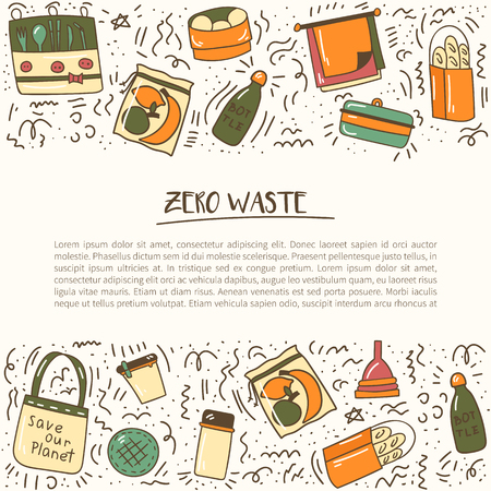 Vector illustration with cartoon hand drawn zero waste life background. Eco style. No plastic. Go green. Organic recycled elements: cotton mesh store bag, glass bottle, menstrual cup, reusable things Illusztráció