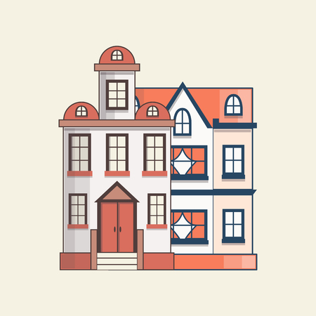 Vector illustration with collection of flat cartoon line houses. City, town design. Urban landscape background. Set of exterior facade buildings. Colorful old, retro and modern front view houses icon