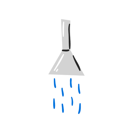 Vector cartoon illustration with isolated shower icon. Clean, bath concept design Illustration
