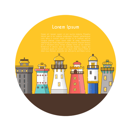 Vector illustration with cartoon flat outline background of lighthouses. Sea travel elements. Marine object. Large lighthouse, sea beach icon. Architecture object, exploring surrounding area coast 스톡 콘텐츠 - 127221749