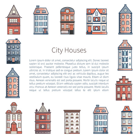 Vector illustration with background of flat cartoon line houses. City, town design. Urban landscape background. Set of exterior facade buildings. Colorful old, retro and modern front view houses icon